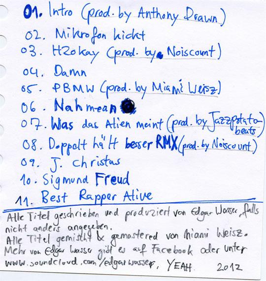 trackliste selbst geschrieben